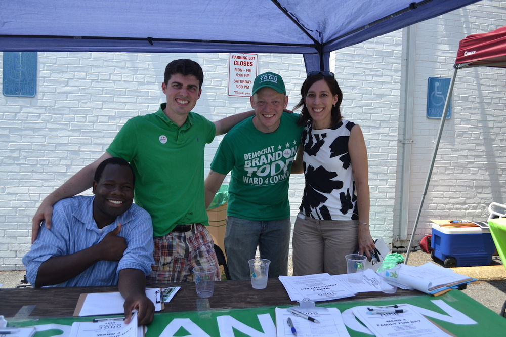 At Councilmember Brandon Todd's table:  Darwian Frost, Jackson Carnes, Matt Santoro, Jennifer Hara.