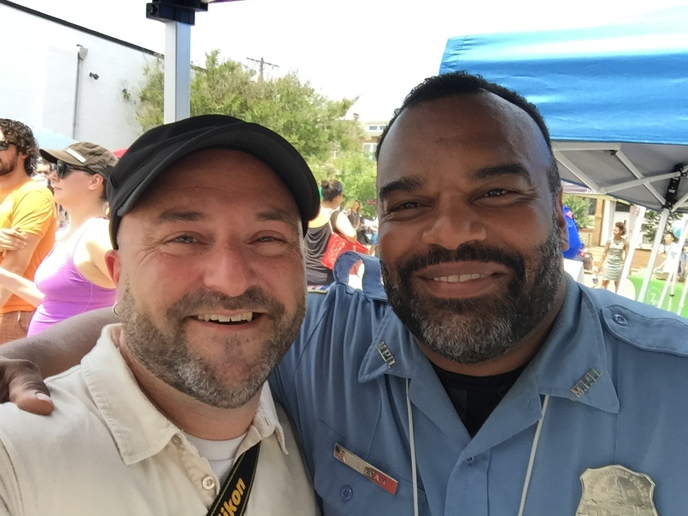 Officer Beam takes a selfie with Drew.