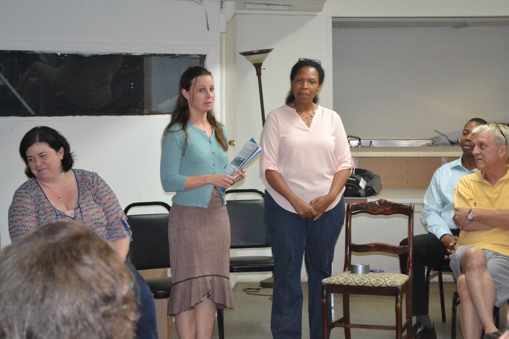 Emily Cohen and Audrey Nwanze talking with the residents.