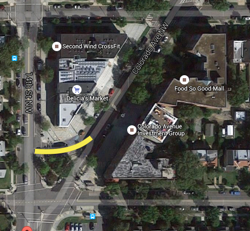 The left turn off from Colorado onto 14th will be removed and the triangular park will be expanded. Pic courtesy of Google Maps.