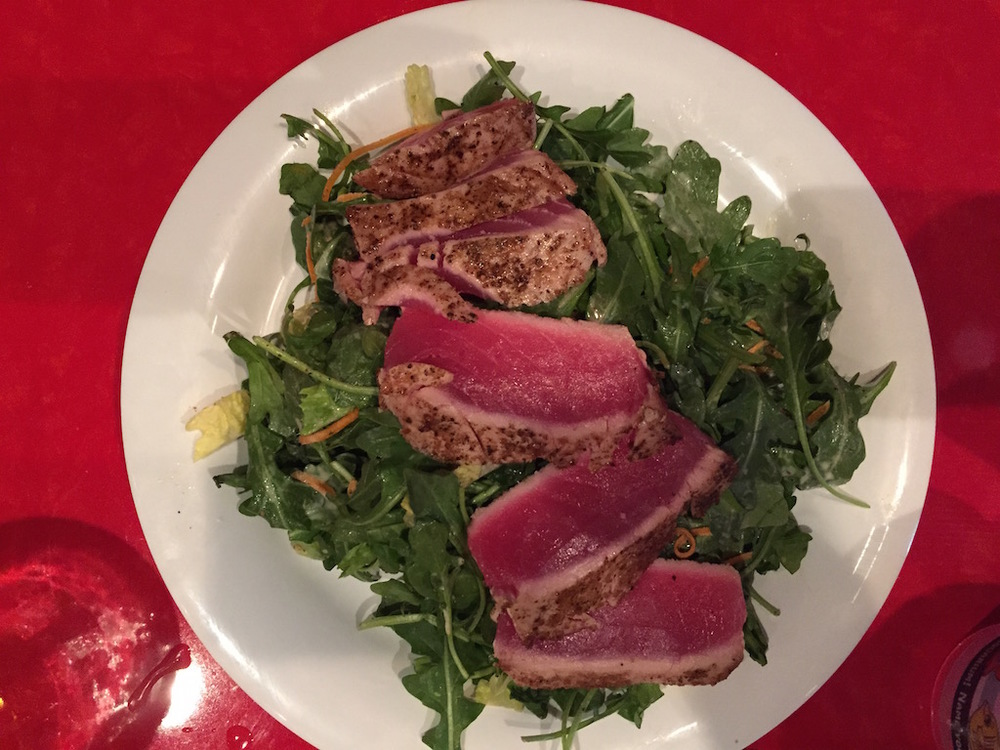 My wife's tuna salad, cooked rare.