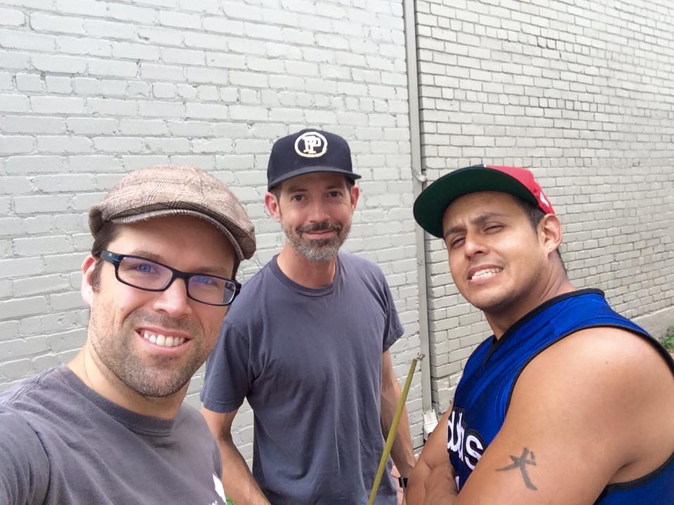 Rob Mandle, Tom Pipkin and artist Juan Pineda before the mural went up. Courtesy Rob Mandle.