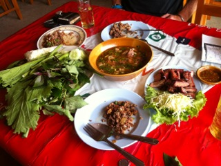 Laab, muu yang  and veggies  (courtesy Alex McCoy)