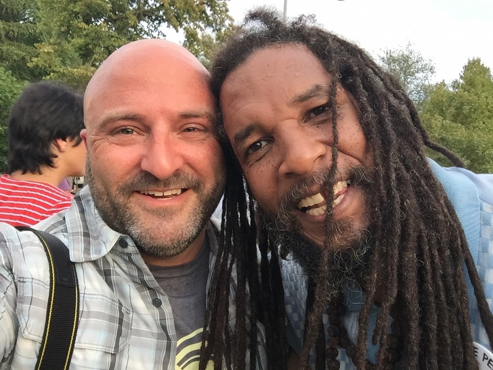 Baba Ras D poses for a selfie with Drew at the  Petworth Jazz Project . August 29, 2015.
