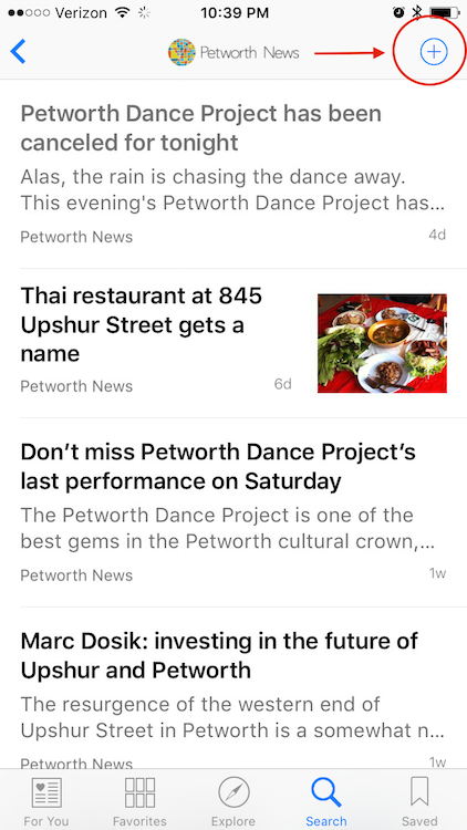 Touch the plus sign (+) to save Petworth News to your favorites.