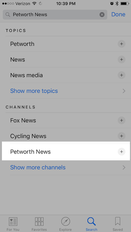 "Type ""Petworth News"" into the search bar."