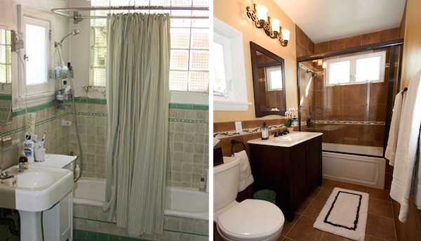 Before and after on a bathroom renovation
