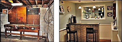 Before and after on a basement renovation