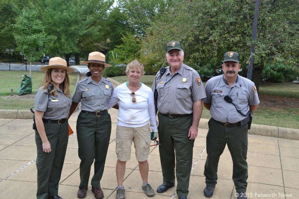 Representatives from the National Park Service: Emily Lindt, NPS Superintendent Tara Morrison, Doug Rowley and Mike Papa, with Carol Herwig in the middle.