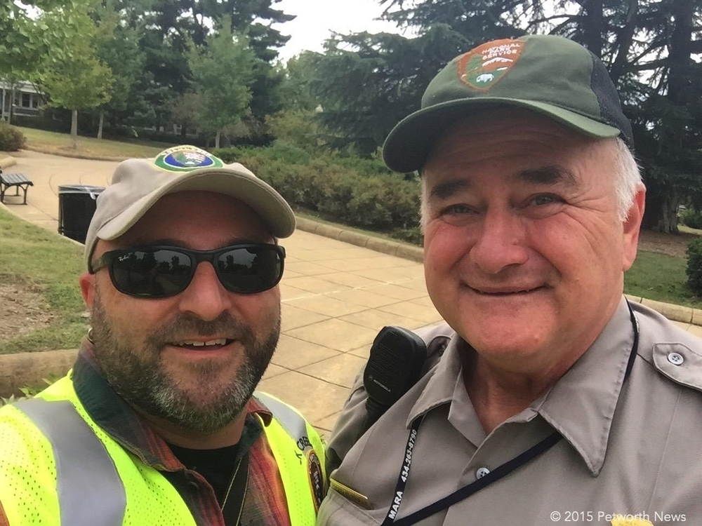 Doug Rowley from NPS poses for a selfie with Drew to celebrate digging out the tree.