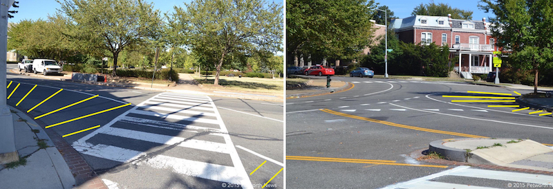 My suggestion to DDOT on new striping to increase driver awareness and pedestrian safety.