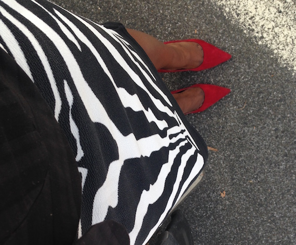 Zebra pattern, red shoes... awesome.