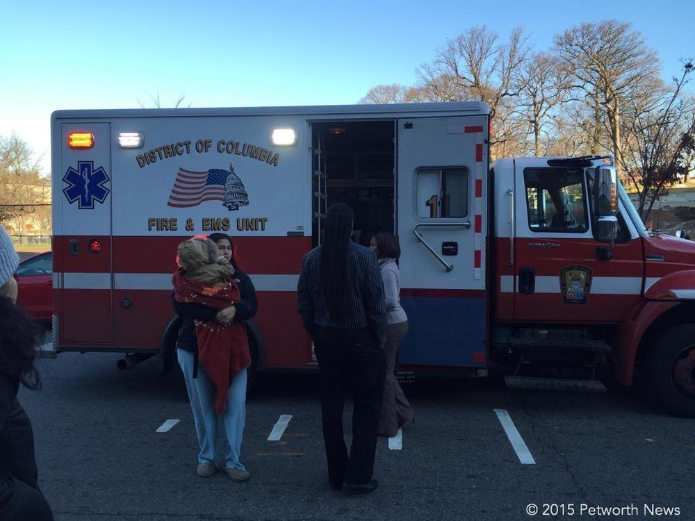 DC FD/EMS ambulance at Powell Elementary, Dec 3 2015