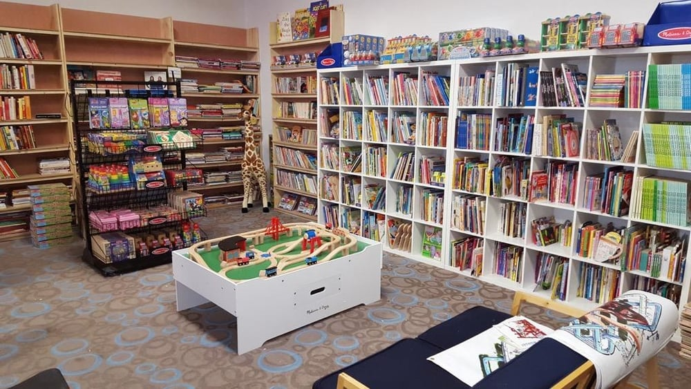 Kids' section, complete with games and books. Photo: Pablo Sierra