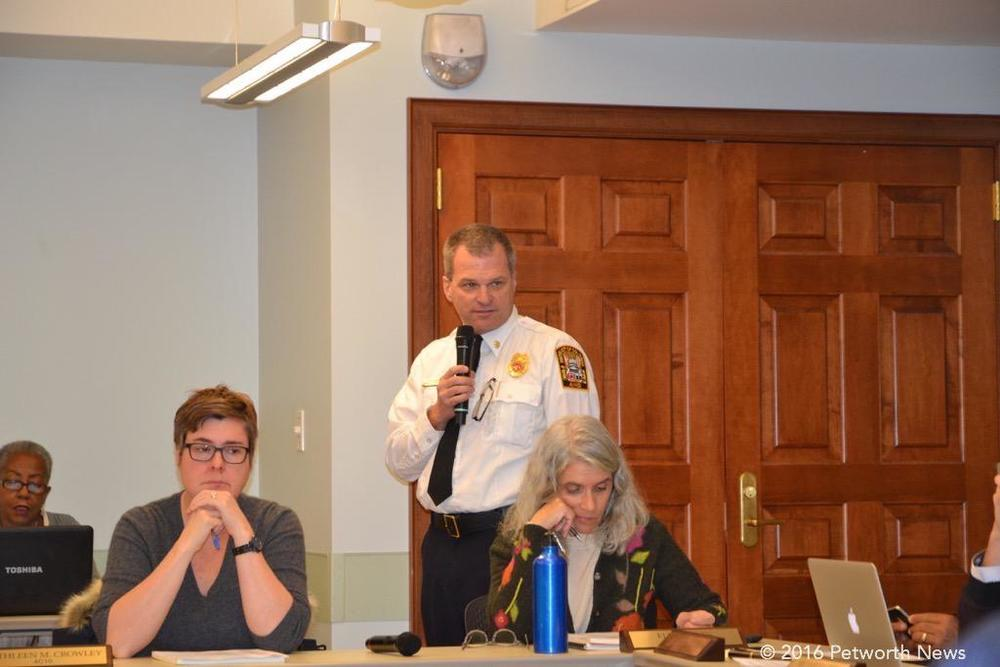 Deputy Fire Chief John Donnelly, Kathleen Crowley and Elisa Irwin