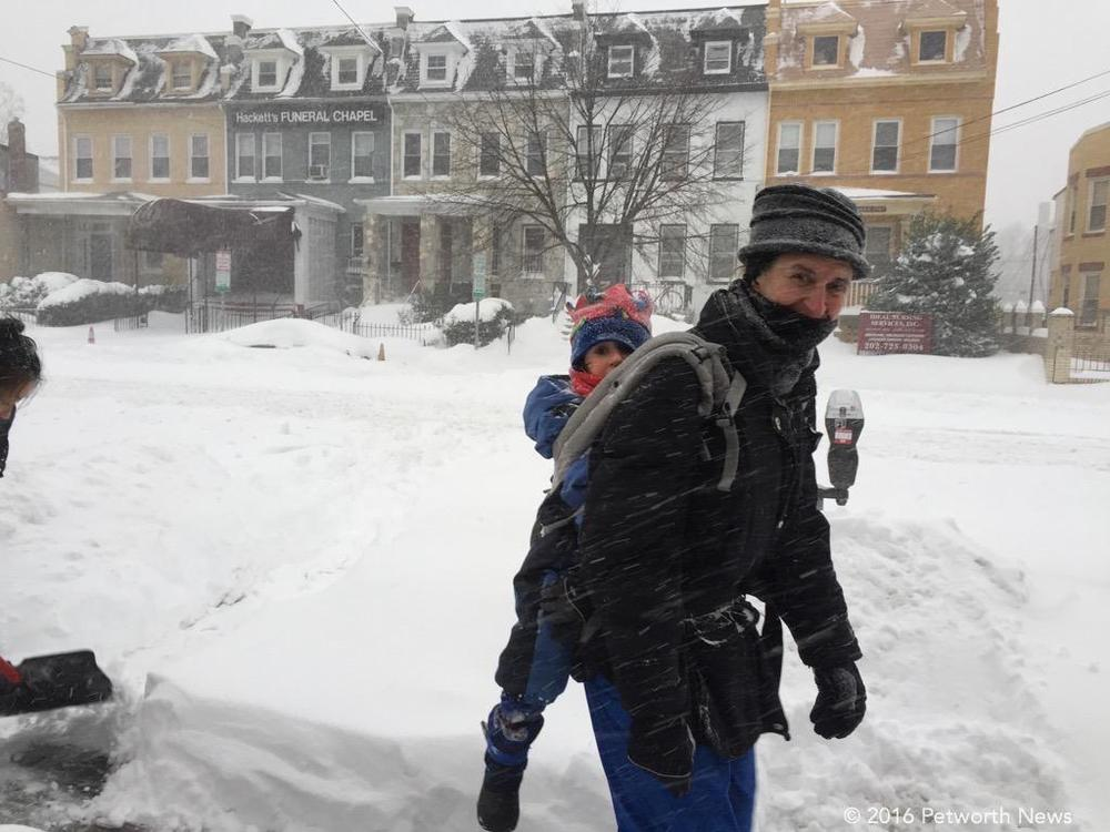 A great way to travel in a blizzard... backpack.