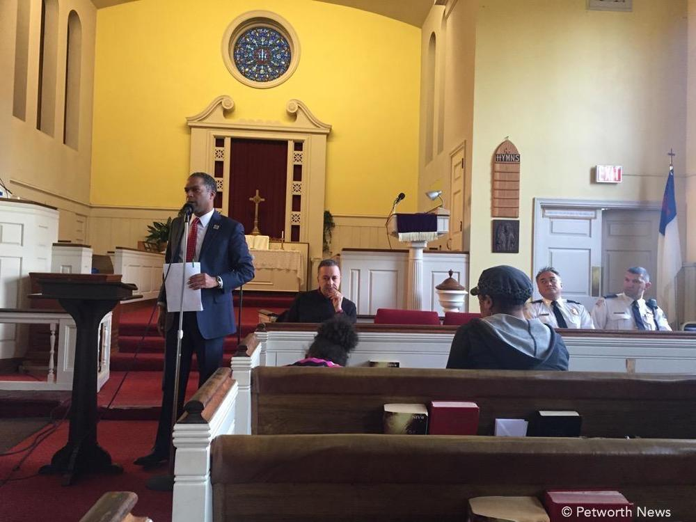 Ward 4 Councilmember Brandon Todd speaks at the April 5th Jefferson St meeting.