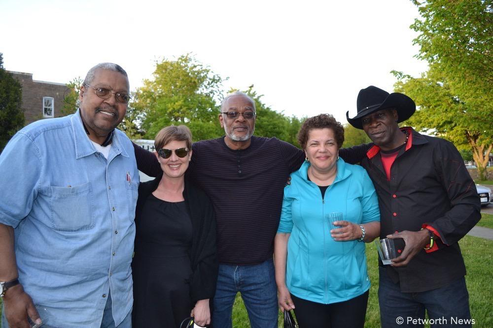 "Woodie Head, Kirsten Spainhower, Lee Magruder, Karen Shaw and Ron Ceasar.  ""We're here because we heard about it from our neighbor, and we wanted to meet our neighbors."""