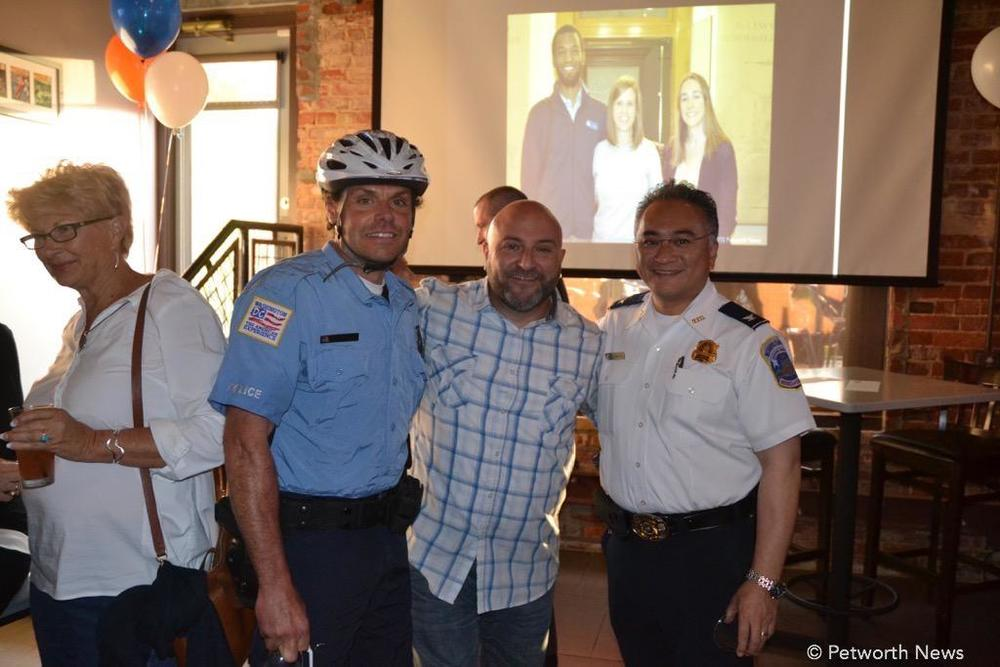 PSA 407 Officer Eric Frost, Drew and Fourth District Commander Wilfredo Manlapaz