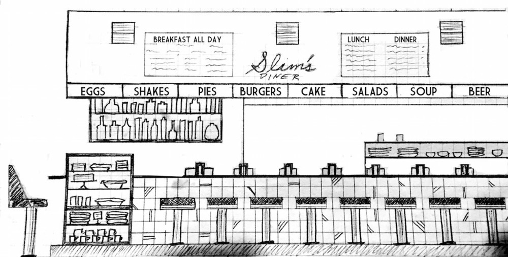 Early rendering of Slim's Diner that looks pretty accurate. (photo courtesy of Paul Ruppert)