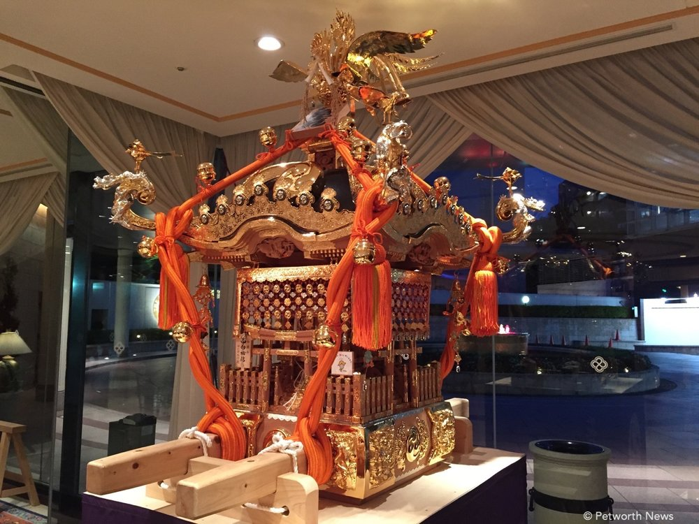 A Mikoshi, a divine palaquin that Shinto followers believe can be used to transport a diety between a shrine.