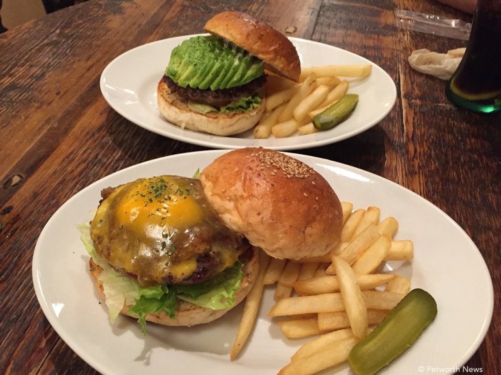 "Avocado burger and a ""teriyaki"" burger."