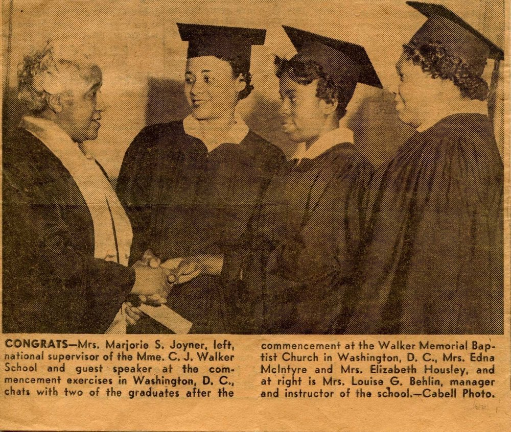 A picture of Linda's Aunt Edna receiving her graduation certificate from the Madam CJ Walker School.