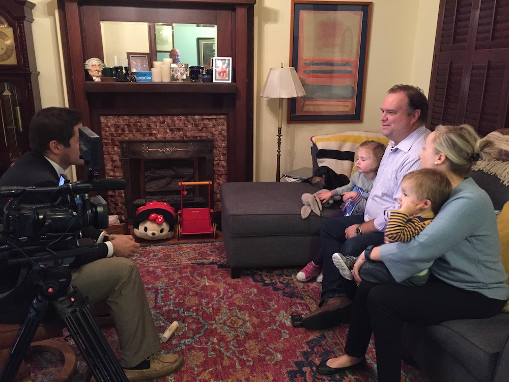 The Videnieks family getting interviewed by WUSA 9 reporter Evan Koslof
