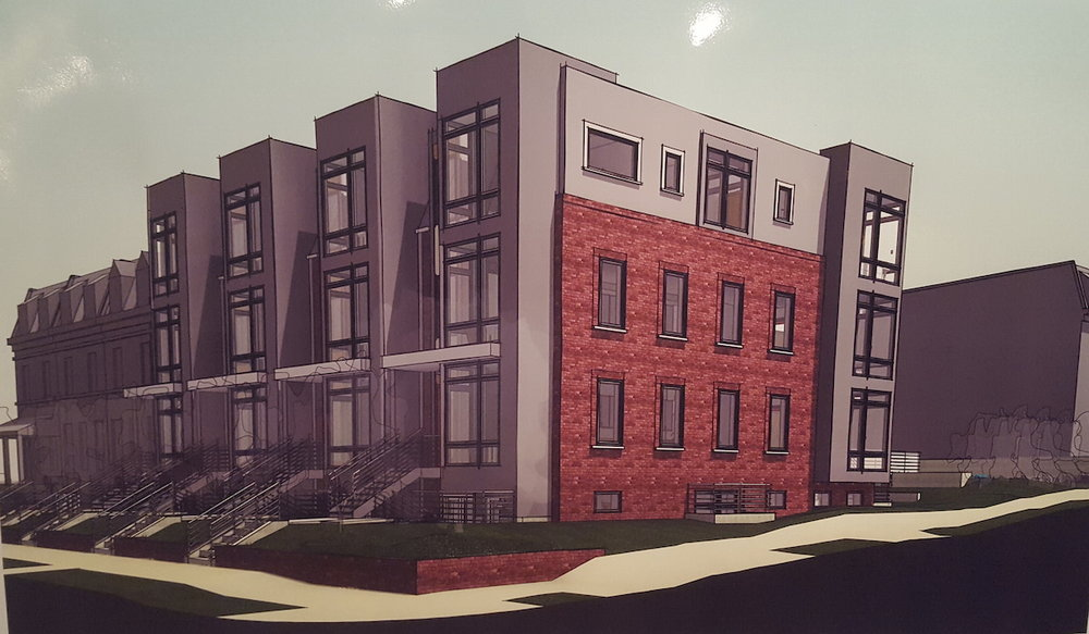 ERB rendering of the new rowhouses, courtesy   Chris Broderick.