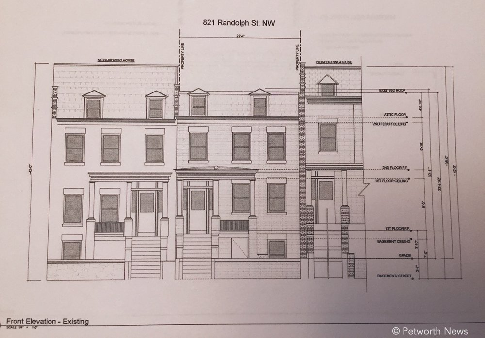 Rendering of the front of 821 Randolph Street NW