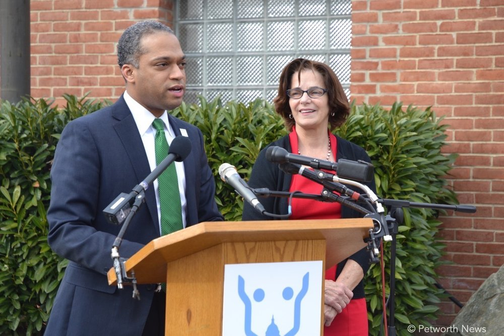 DC Councilmember Brandon Todd speaks at a press conference, with Councilmember Mary Cheh. February 7, 2017