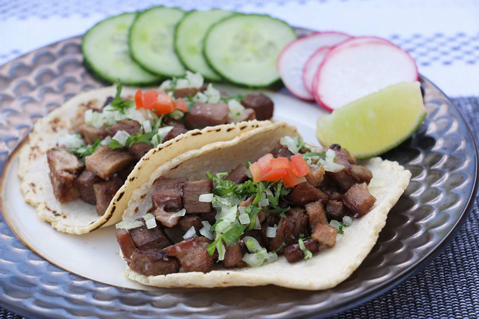 Lengua and pork tacos