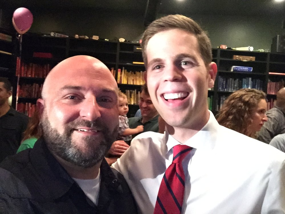 Josh Brown (CM Bonds Community Outreach Director) poses for a selfie at the Petworth News Shindig. June 29, 2015