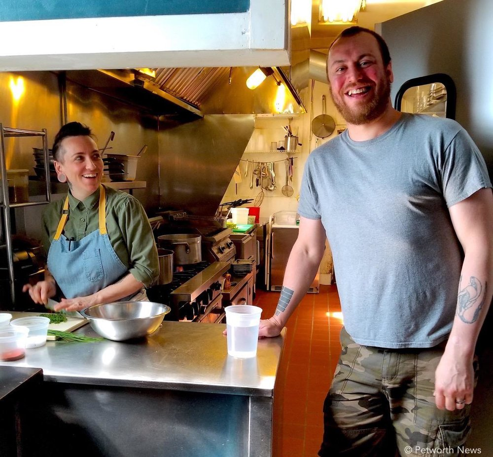 Chef Jamie Rutherford and bar manager Jeremy Schleif hanging in Petworth Citizen's kitchen.