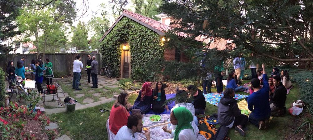 A backyard iftar celebrating breaking the Ramadan fast