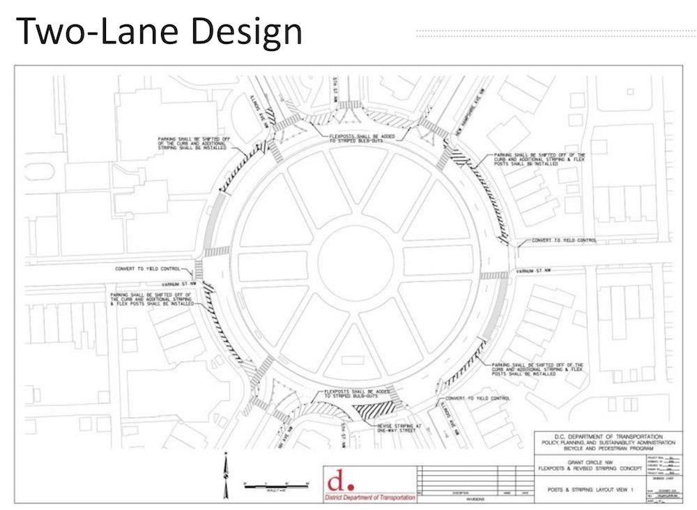 One possible option for a change to the current two-lane design of Grant Circle (DDOT)