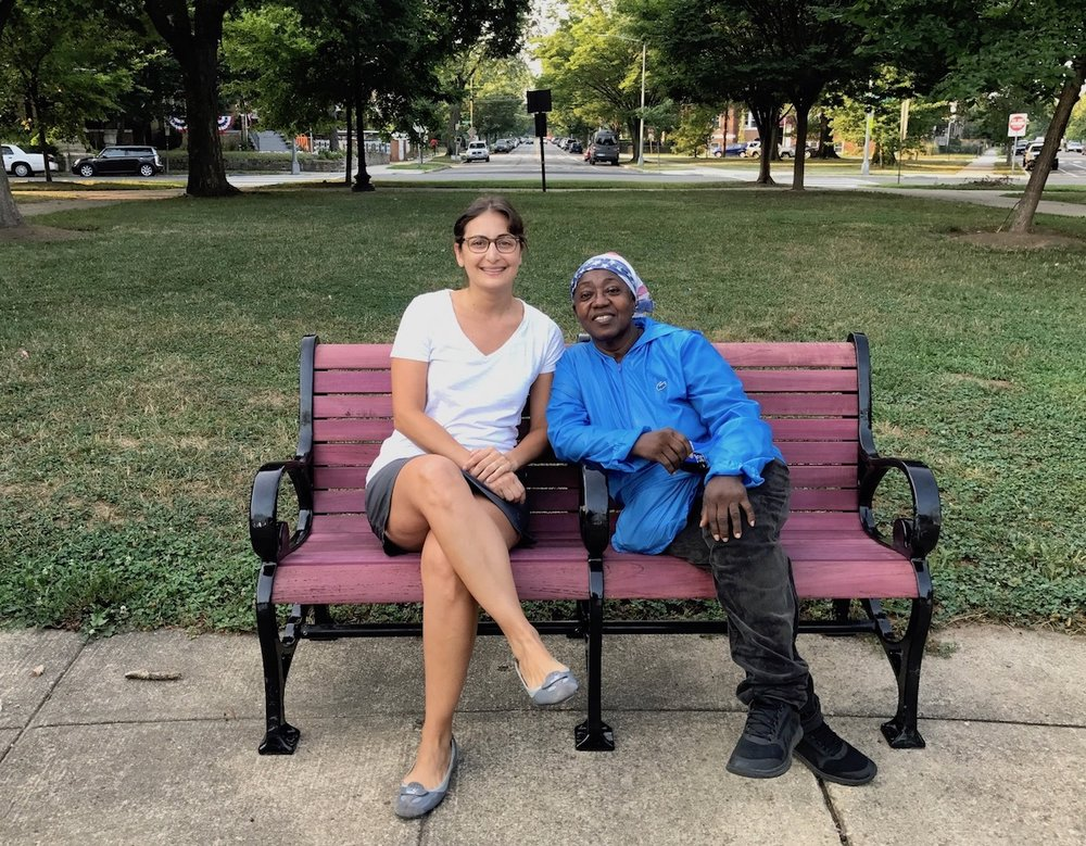 ANC Commissioner Amy Hemingway and resident Lydia Barclay were the first to sit and enjoy the new benches