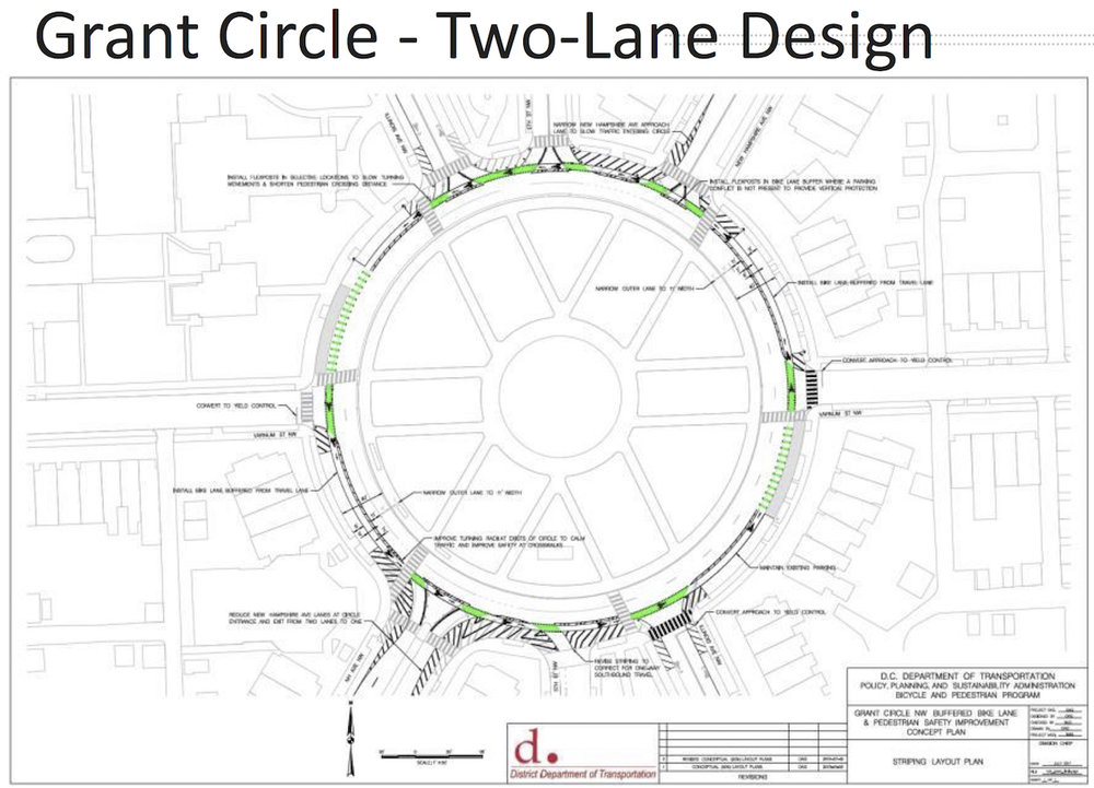 Two lane design for Grant Circle with a cycle track.