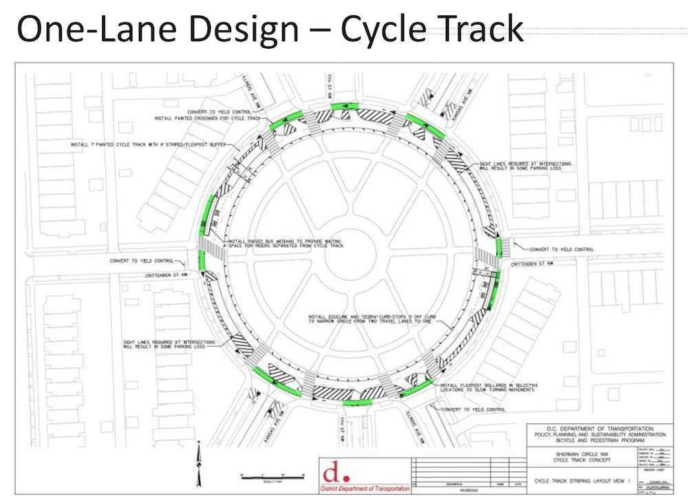 A proposed one-lane design for Sherman Circle. (DDOT)