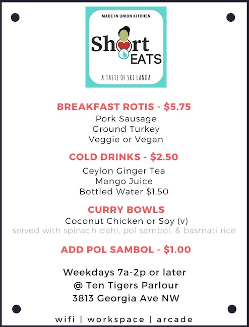 Short Eats menu