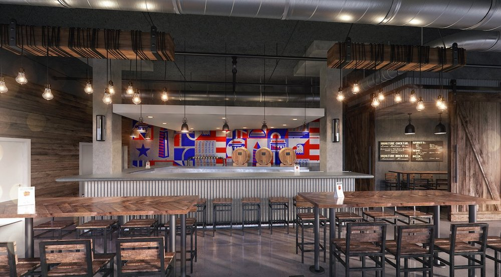 A rendering of the bar and interior of the Capitol Cider House with the large custom mural behind the bar.