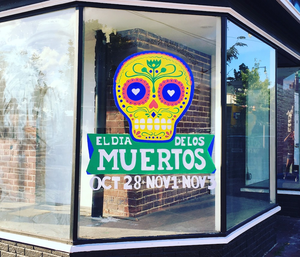 Have you visited the Petworth  Dia de Los Muertos  window nural up on Slims Diner? Take a photo in front of the window mural and tag  #petworthartsdc!