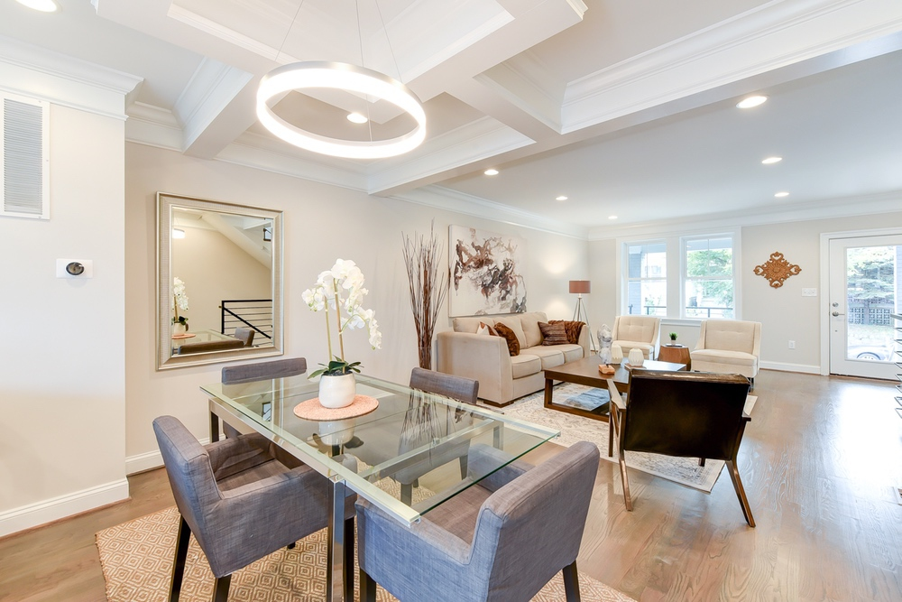 Beautiful architectural features are a highlight of this rowhome.