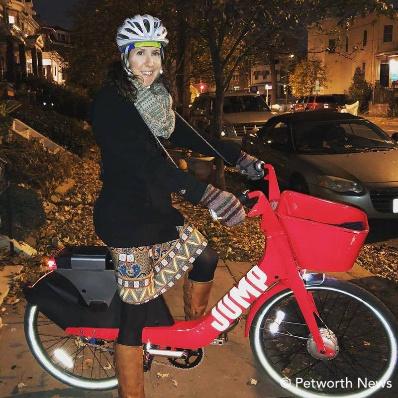 Rachel takes a test ride on a Jump Mobility ebike.