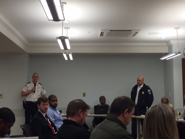MPD Captain Brian Bray speaks at the meeting.
