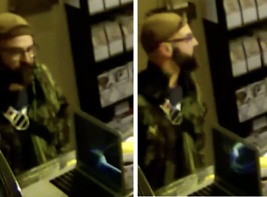 Screen capture of the man caught on camera spitting at Qualia staff on January 22nd.