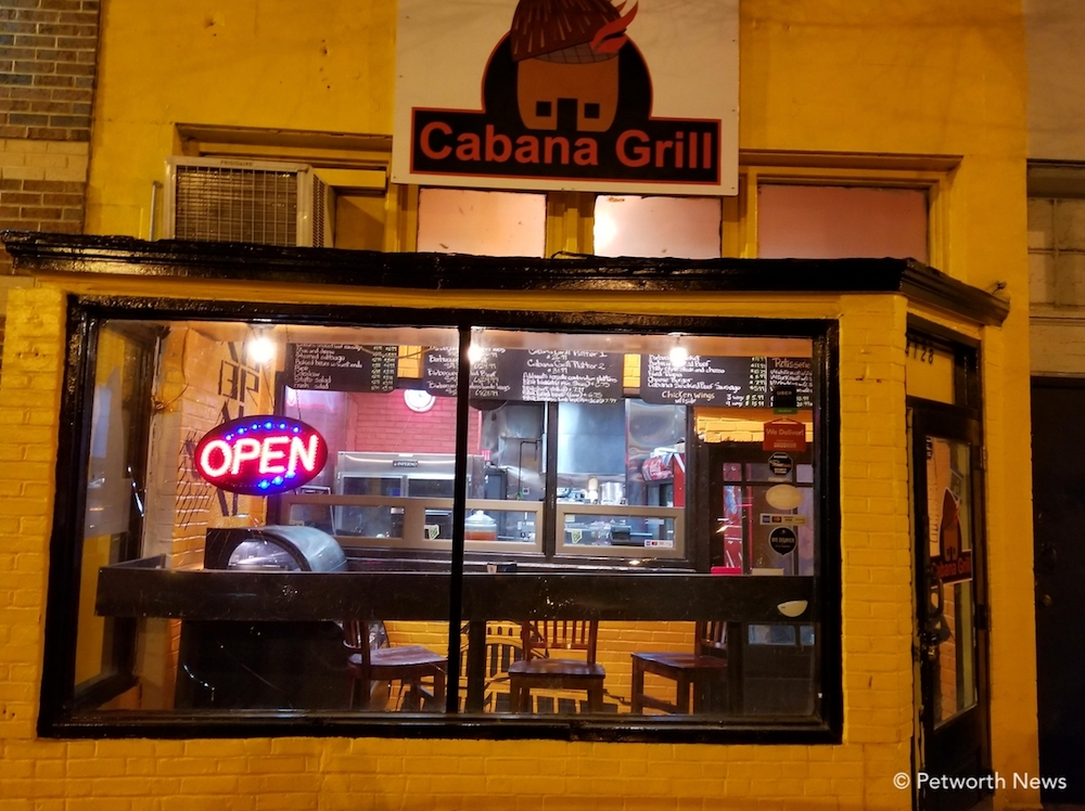 Cabana Grill's bright exterior and small seating area. There's room for about 4 people to sit at the counter, so most orders are takeout.