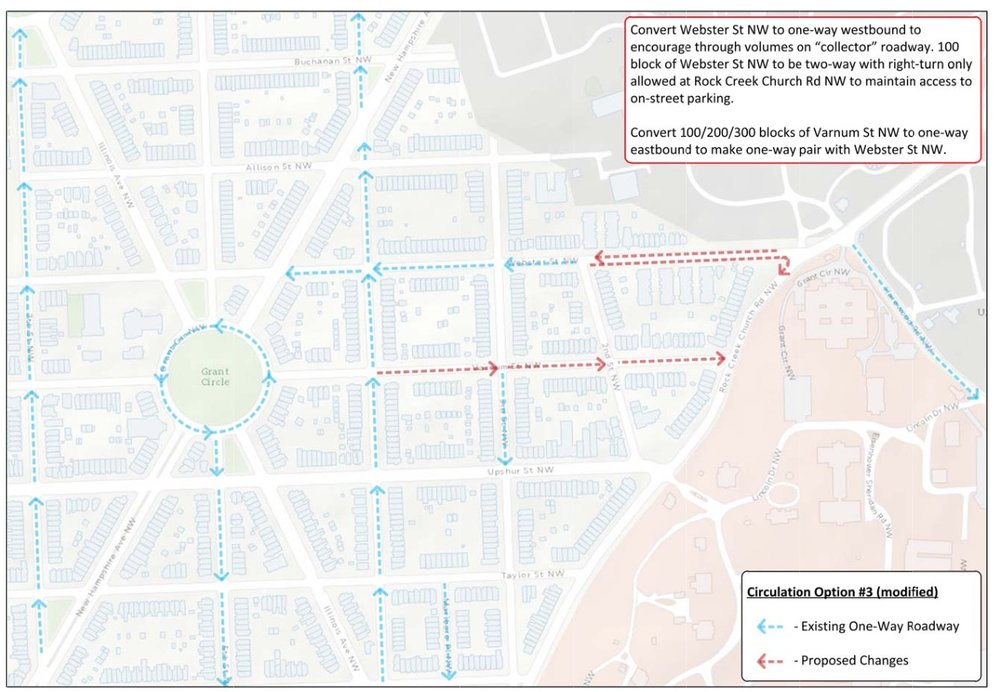 The proposed changes will impact  Webster & Varnum traffic patterns. (Image: DDOT)