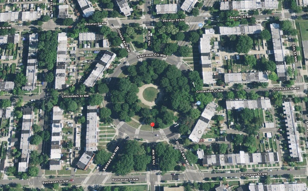 Satellite view of Sherman Circle (Apple Maps)