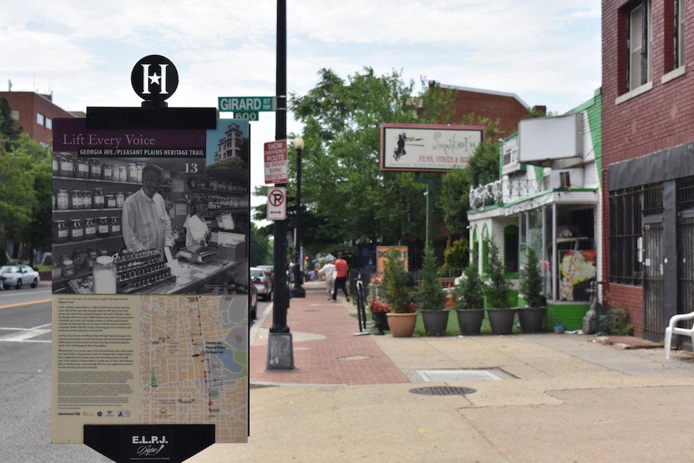 Heritage Trail marker near Girard Street in Ward 1 (photo courtesy of District Bridges)